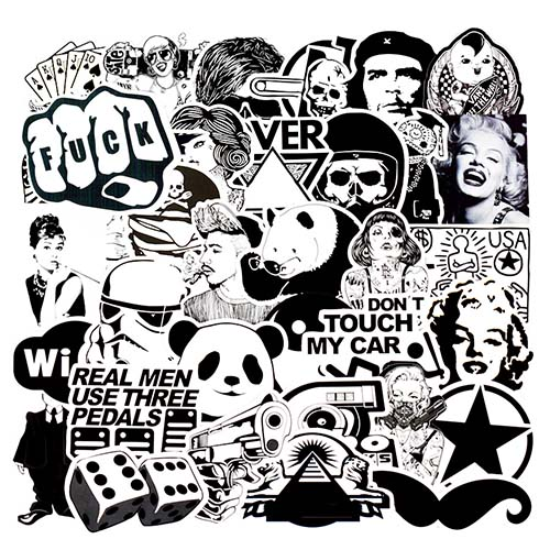 white black sticker luggage skateboard stickers lot
