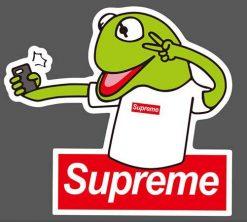 funny kermit supreme sticker