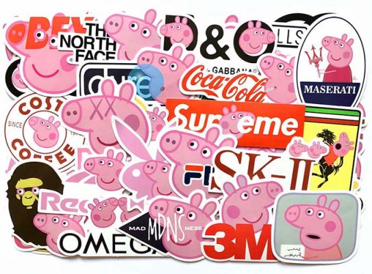 peppa pig skateboard luggage stickers