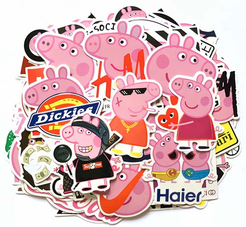funny peppa pig skateboard stickers