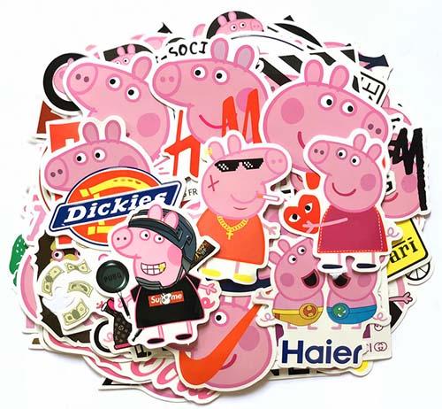 funny peppa pig skateboard stickers