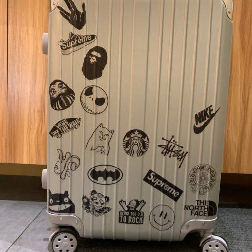 Animetee 100 Pcs Transparent Black White JDM Stickers For Luggage Bike Fridge Car Styling Home decal