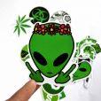 green alien stickers pack