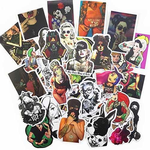 hot sexy tattooed girl stickers