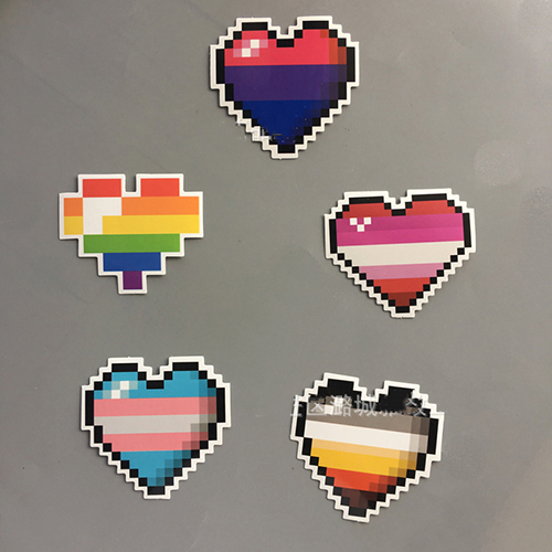 Pixel heart rainbow heart LGBT STICKER DECALS