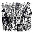 68pcs  black white tattoo vinyl skateboard car laptop stickers pack