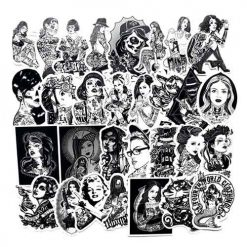 68pcs black white tattoo vinyl skateboard car laptop stickers pack