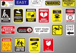 50Pcs Funny Warning Attention Sign Label Stickers