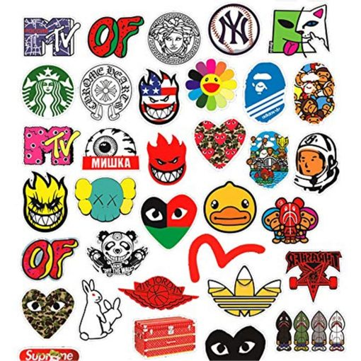 fashion brand logo mixed stickers-2