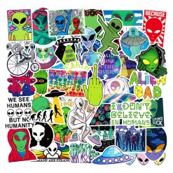50pieces mixed alien UFO stickers