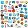 surfing surfboard stickers pack 50 pieces
