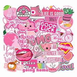 all pink style trendy girls stickers 40 pieces