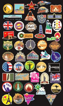 World Famous Tourism Country Map Laptop Stickers