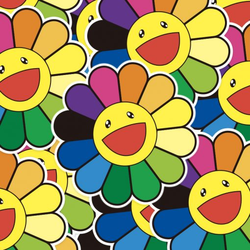rainbow happy smile face flower sticker