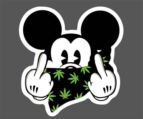 rude middle finger micky stickers