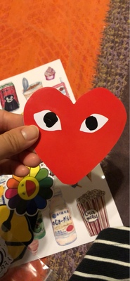 CDG Commer Des Garcons Play Heart red sticker
