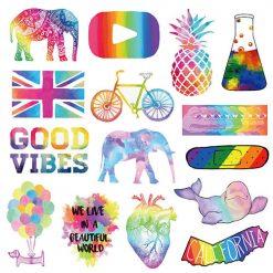 fancy rainbow style stickers 50 pieces