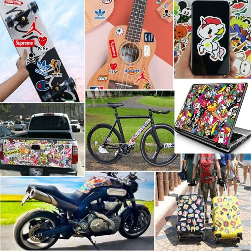 guitar skateboard box car bike laptop motorbike sticker decals