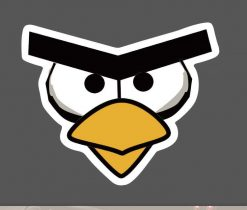 Angry Bird Face Sticker for car botter box phone decals bulk pack laptop mac phone box stickers