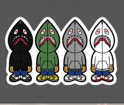 Bape Shark sticker for car botter box phone decals bulk pack laptop mac phone box stickers