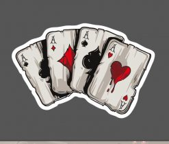 Four Aces Poker Sticker Playing Cards Sticker for car botter box phone decals bulk pack laptop mac phone box stickers