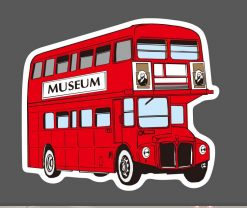 Small red london bus museum vinyl sticker pack wholesale decal
