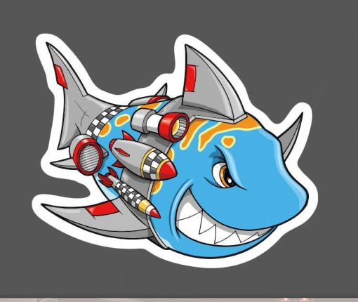 Shark Armed Rocket for car botter box phone decals bulk pack laptop mac phone box stickers