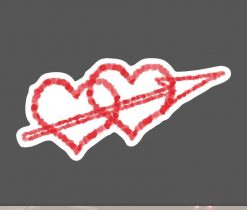 double hearts with arrow love heart Cupid heart sticker decal