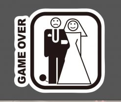 Game Over Wedding Sticker bulk pack skateboard laptop luggage car bumper decals