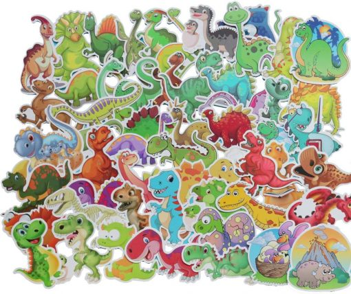 Dinosaur Sticker 50 PCS PVC Waterproof Stickers for Laptop, Notebooks, Car, Bicycle, Skateboards, Luggage Decoration