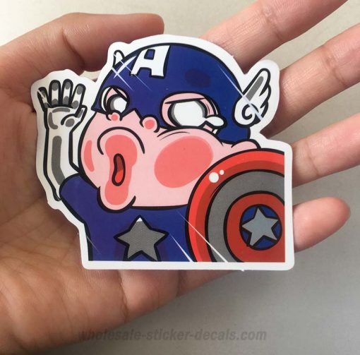 Funny Captain America Cartoon Sticker bulk pack from wholesale sticker supplier