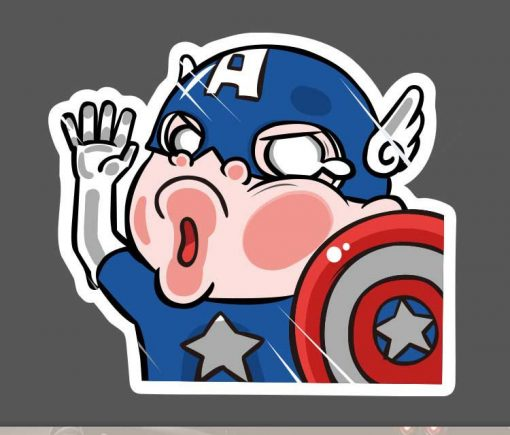 Funny Captain America Cartoon Sticker for car botter box phone decals bulk pack laptop mac phone box stickers pack