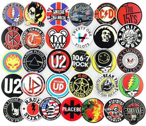 buy 100pcs rock music Sticker bulk pack skateboard guitar laptop luggage car bumper decals