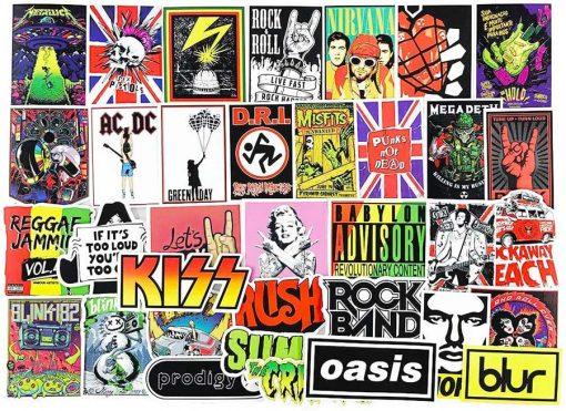 100pcs rock roll punk music band sticker for car botter box phone decals bulk pack laptop mac phone stickers
